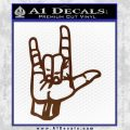 Rocker Hand Devil Fist Decal Sticker BROWN Vinyl 120x120
