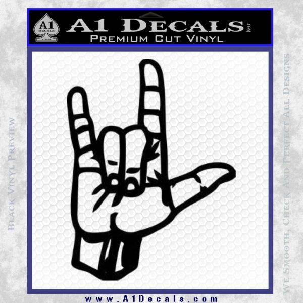 Rocker Hand Devil Fist Decal Sticker Black Vinyl