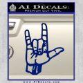 Rocker Hand Devil Fist Decal Sticker Blue Vinyl 120x120