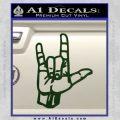 Rocker Hand Devil Fist Decal Sticker Dark Green Vinyl 120x120