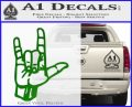 Rocker Hand Devil Fist Decal Sticker Green Vinyl Logo 120x97