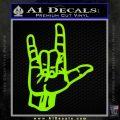 Rocker Hand Devil Fist Decal Sticker Lime Green Vinyl 120x120