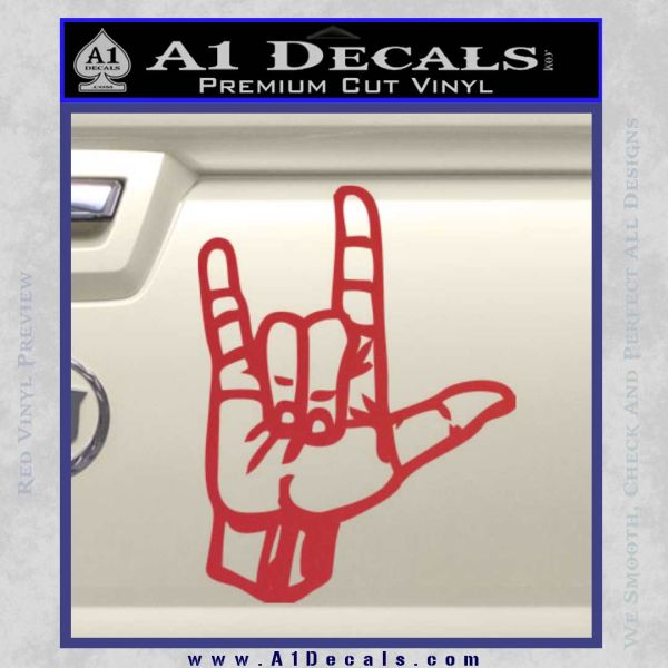 ... Rocker Hand Devil Fist Decal Sticker Red 120x120 ...