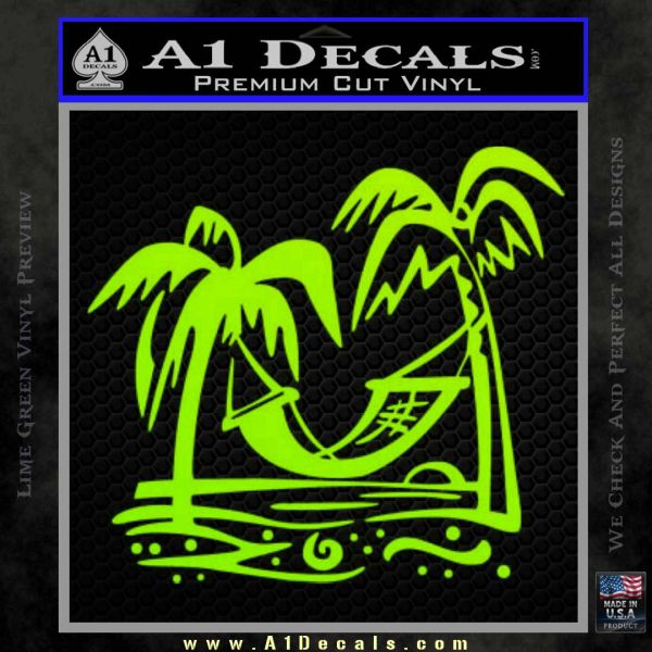 Vacation Decal Sticker Lime Green Vinyl