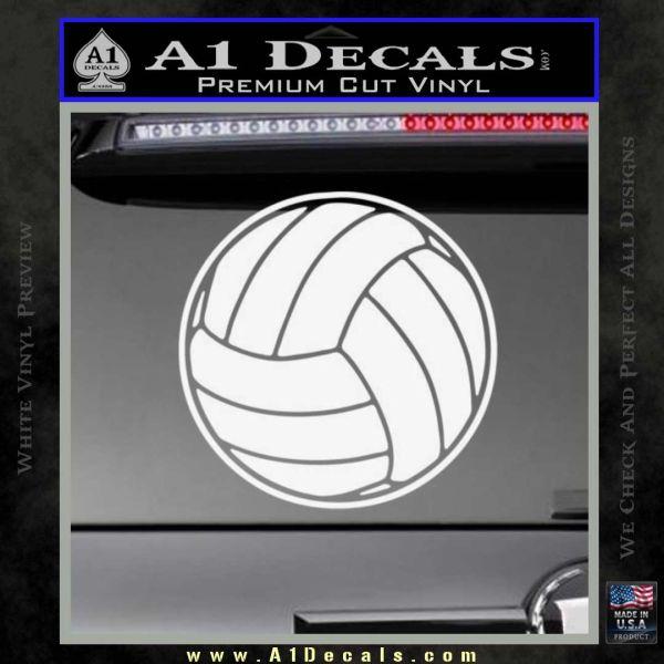 Volleyball0 2 Decal Sticker Gloss White Vinyl