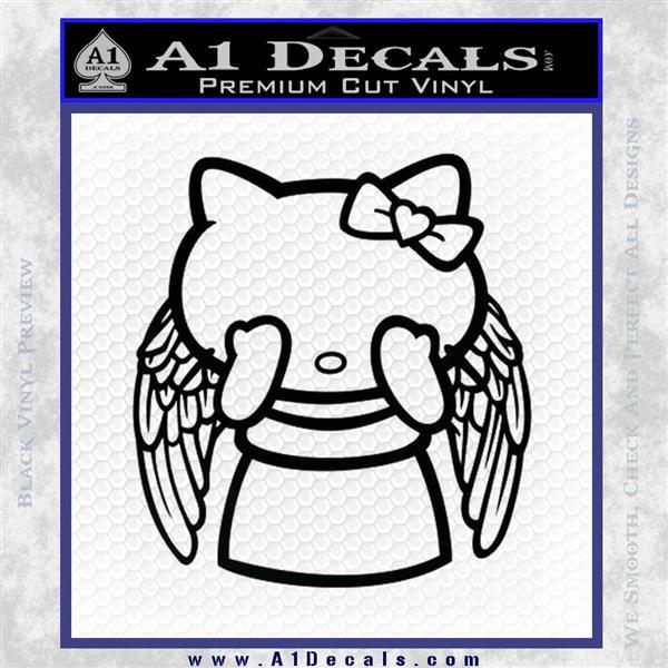 Angel Wing Kitty Decal Sticker Black Logo Emblem