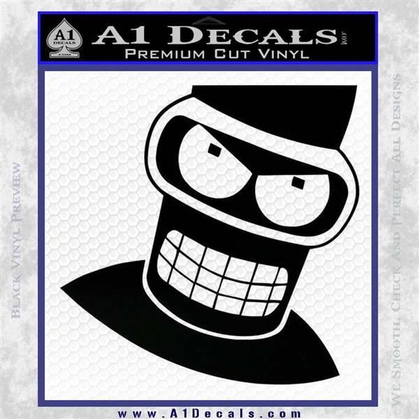 Angry Bender 3D Futurama Decal Sticker Black Logo Emblem