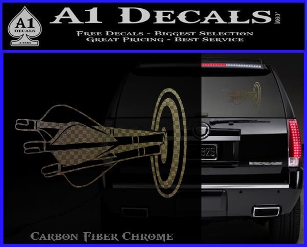 Archery target decal sticker bullseye carbon fiber chrome logo 120x97