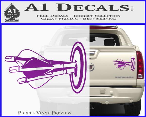 Archery target decal sticker bullseye purple vinyl 120x97