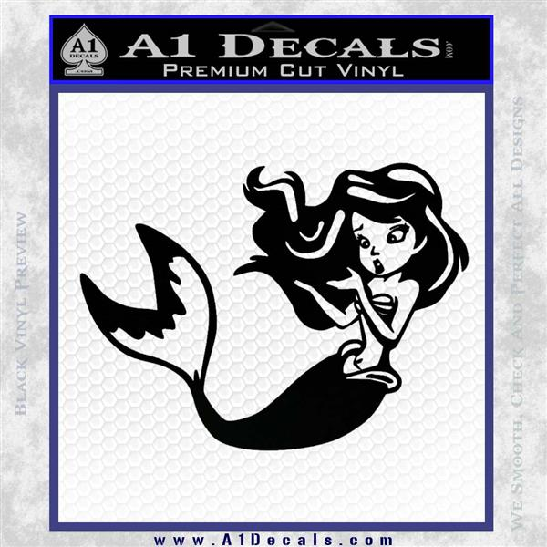 Ariel Decal Sticker Cute Mermaid Black Vinyl Vinyl