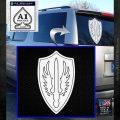 Battlestar Pegasus Wings Decal Sticker BSG White Emblem 120x120