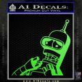 Bender Worried Decal Sticker Futurama Lime Green Vinyl 120x120