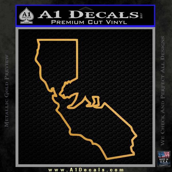 California Bear Decal Sticker Metallic Gold Vinyl Vinyl