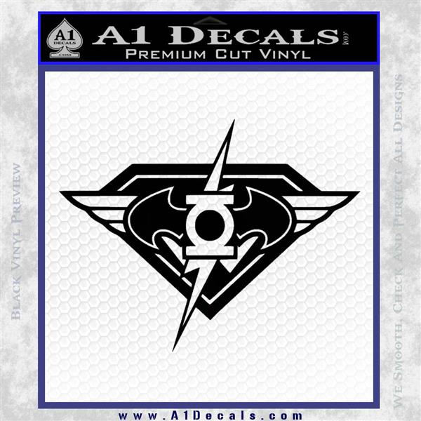 DC Super Heros Justice League Mashup Decal Sticker Black Logo Emblem