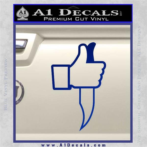 Facebook Like Knife Decal Sticker Blue Vinyl