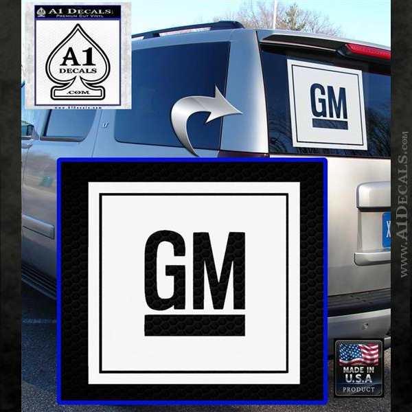 GM General Motors Decal Sticker SQ White Emblem