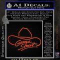 George Strait Decal Sticker Cowboy Hat Orange Vinyl Emblem 120x120