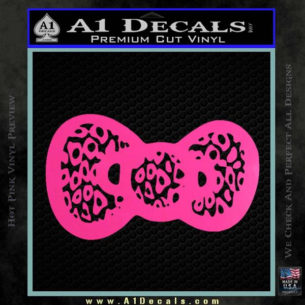 Hello Kitty Leopard Bow Decal Sticker Hot Pink Vinyl