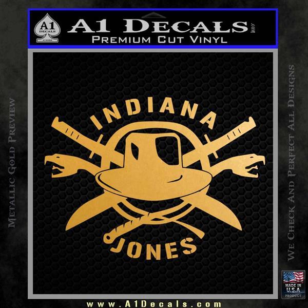 Indiana Jones Crest Decal Sticker Metallic Gold Vinyl Vinyl