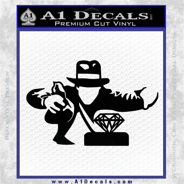 Indiana Jones Grab Decal Sticker Black Logo Emblem