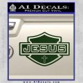 Jesus Shield Decal Sticker D2 Dark Green Vinyl 120x120