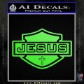Jesus Shield Decal Sticker D2 Lime Green Vinyl 120x120