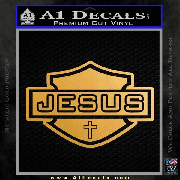 Jesus Shield Decal Sticker D2 Metallic Gold Vinyl Vinyl