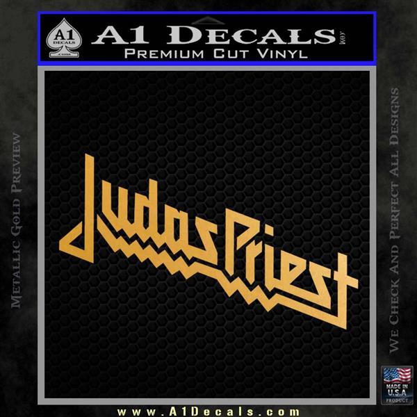 Judas Priest Decal Sticker Metallic Gold Vinyl Vinyl