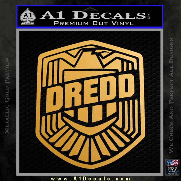 Judge Dredd Decal Sticker Badge D2 Metallic Gold Vinyl Vinyl