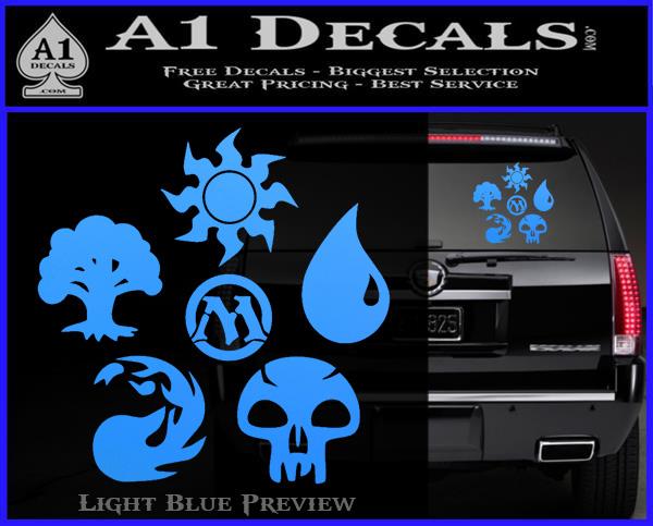 Mana SYmbols MTG D5 Decal Sticker Set Magic The Gathering Light Blue Vinyl 120x97
