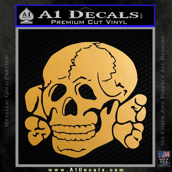 Totenkopf deaths head decal sticker wwii nazi ss metallic gold vinyl vinyl 120x120