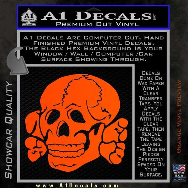 Totenkopf Deaths Head Decal Sticker WWII Nazi SS Orange Vinyl Emblem 120x120