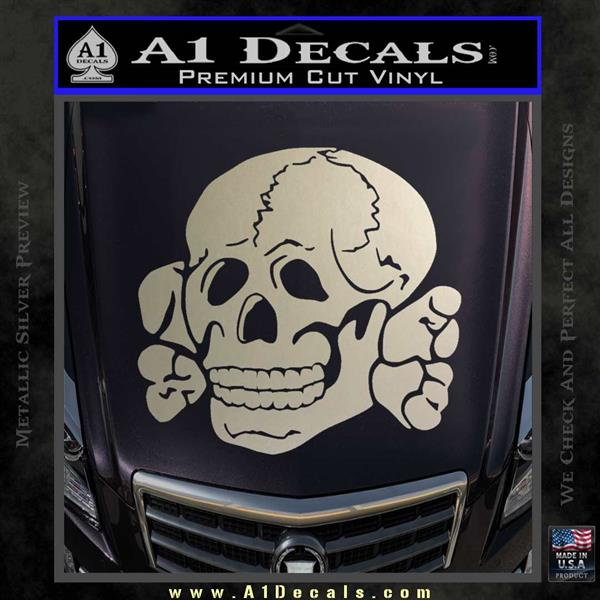 Totenkopf Deaths Head Decal Sticker WWII Nazi SS Silver Vinyl 120x120