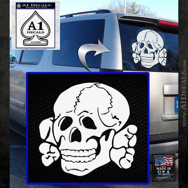 Totenkopf Deaths Head Decal Sticker WWII Nazi SS White Emblem