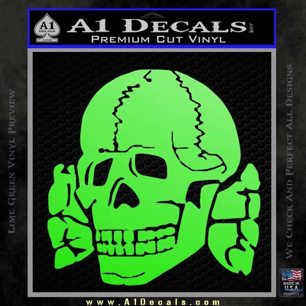 Totenkopf deaths head decal sticker wwii panzer nazi ss lime green vinyl 120x120