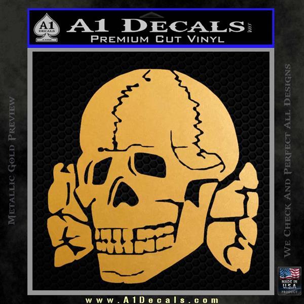Totenkopf deaths head decal sticker wwii panzer nazi ss metallic gold vinyl vinyl 120x120