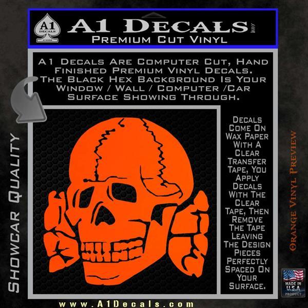 Totenkopf deaths head decal sticker wwii panzer nazi ss orange vinyl emblem 120x120