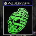 3D Skull Grenade Decal Sticker Lime Green Vinyl 120x120