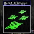 4 UFOs Alien Decal Sticker Spaceships Lime Green Vinyl 120x120