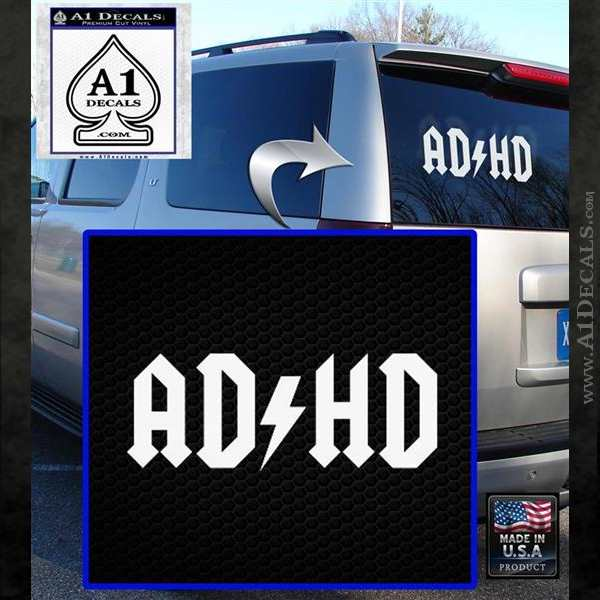 ADHD ACDC Parody Decal Sticker White Emblem