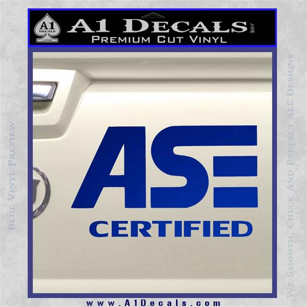 ASE Certified Mechanic ST Decal Sticker Blue Vinyl