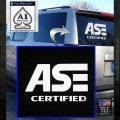 ASE Certified Mechanic ST Decal Sticker White Emblem 120x120