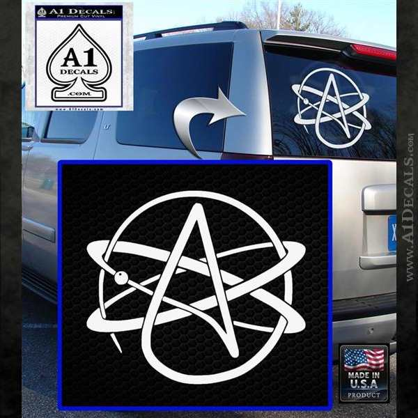 Athiest Atom Symbol Decal Sticker White Emblem