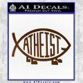 Athiest Jesus Fish Decal Sticker d6 Brown Vinyl 120x120
