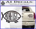 Athiest Jesus Fish Decal Sticker d6 Carbon Fiber Black 120x97