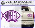 Athiest Jesus Fish Decal Sticker d6 Purple Vinyl 120x97