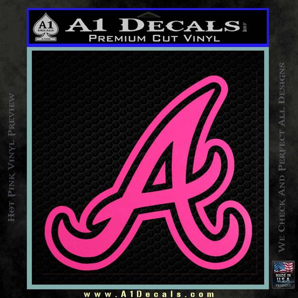 Atlanta braves decal sticker a hot pink vinyl 120x120