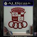 Audi Infinity Lexus Mercedes Cadillac BMW Decal Sticker Mashup Dark Red Vinyl 120x120