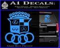 Audi Infinity Lexus Mercedes Cadillac BMW Decal Sticker Mashup Light Blue Vinyl 120x97