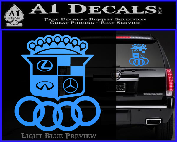 Audi Infinity Lexus Mercedes Cadillac BMW Decal Sticker Mashup - Lexus custom vinyl decals for car